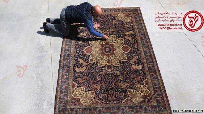 هراتج کوزیبیوکیان و فرش خانواده کونزلر که توسط یتیمان ارمنی بافته شده