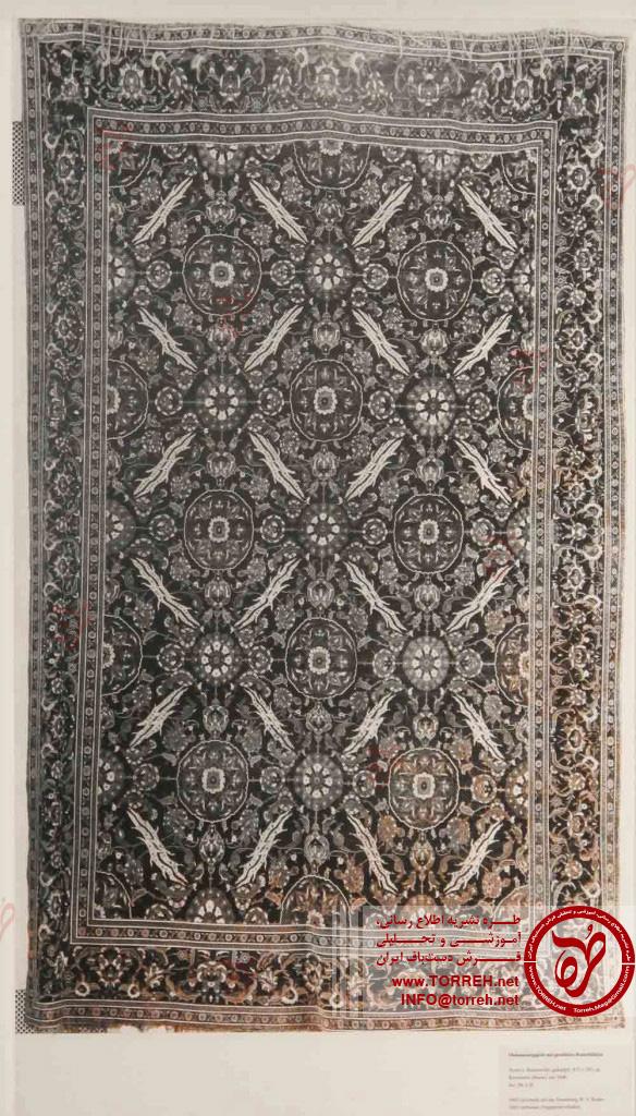 قالی عثمانی، (287 در 415 سانتیمتر)، قاهره یا استانبول، حدود 1600، اهدایی فون بوده در 1905