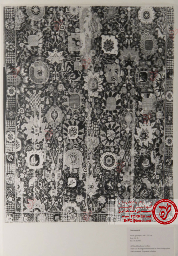 جنوب ایران، (235 در 540 سانتیمتر)، نیمه اول سده شانزدهم میلادی، به دست آمده در 1875 در مونیخ