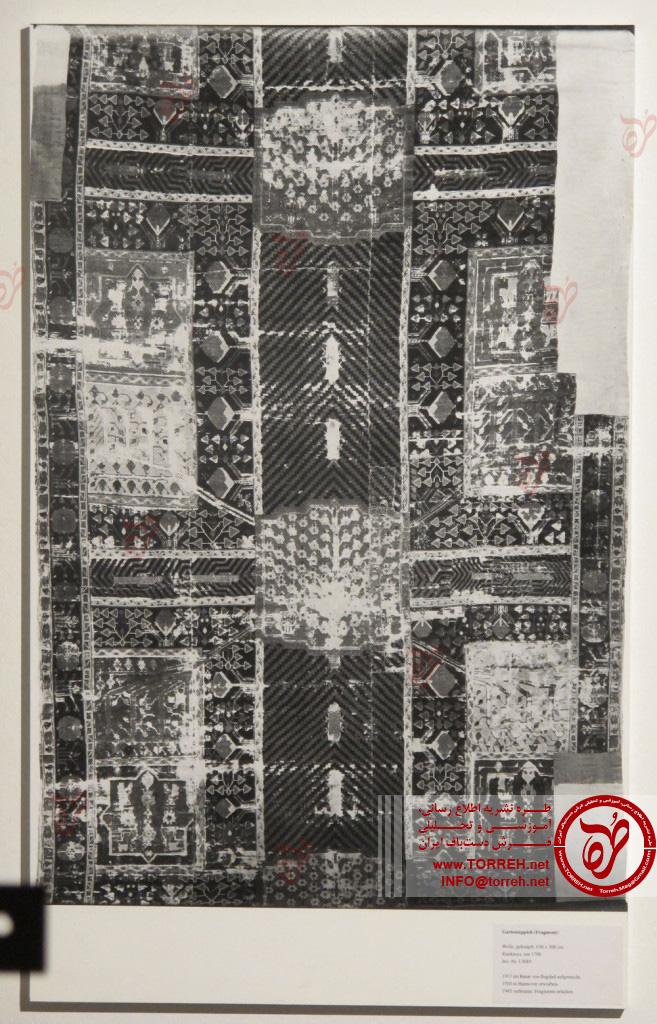 فرش باغی، (300 در 630 سانتیمتر)، شمال غرب ایران، سده هجدهم میلادی، گردآوری شده در سال 1920 (احتمالاً از مسجدی در عراق)